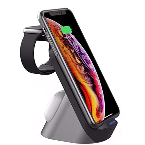 Nomi Cargador Inalámbrico Rápido 3 En 1, Cargador Inalámbrico Rápido De 15 W, Adecuado para A-irpods Pro, A-pple I-Watch, A-pple I-Phone Serie 11 Y I-Phone 12 Series (Negro)