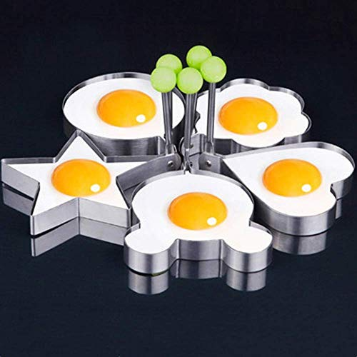 BAIHUI Fried Egg Mold Ring Set of 5 - Stainless Steel Non-Stick Egg Shaper Ring Egg Ring Pancake Mold Non-Stick Kitchen Cooking Tools