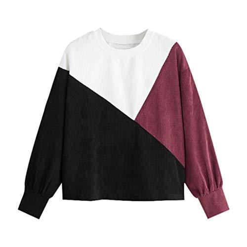 GreatestPAK Damen Langarm Cord Pullover Rundhals Sweatshirt,Schwarz,L