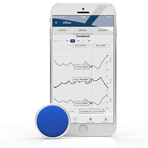 Ultrakleines und genaues Bluetooth-Thermometer, Hygrometer und Taupunktsensor sowie Datenlogger. Lange Akkulaufzeit, einfacher Export von Temperatur-, Feuchtigkeits- und Taupunktprotokollen.