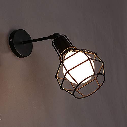 Applique da parete interna Edison Lampada Vintage Industriale Gabbia Lampada da Parete Illuminazione a Soffitto per Cucina, Soggiorno,Bar,Ristorante Soffitta Metallo Nero