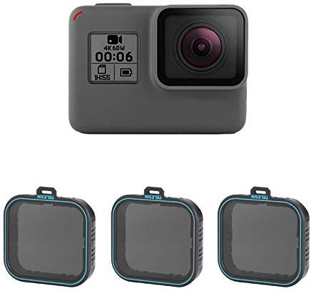 TELESIN GoPro Objektiv Filter-3Pack ND4, ND8, ND16, neutral Density Filter Lens Kit für GoPro Hero 2018Hero 6Hero 5, GoPro Kamera Objektiv Zubehör ND 4/8/16