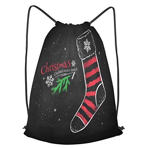 fudin Impermeable Bolsa de Cuerdas Saco de Gimnasio Dibujo de tiza de color rojo y blanco de calcetín de Navidad a rayas sobre negro Deporte Mochila para Playa Viaje Natación