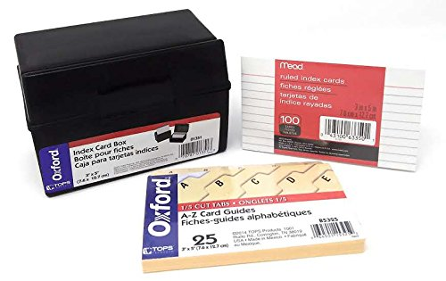 Oxford Plastic Index Card Box Bundle with A-Z Index Card Guides and 100-Count Ruled Index Cards 3x5 inches
