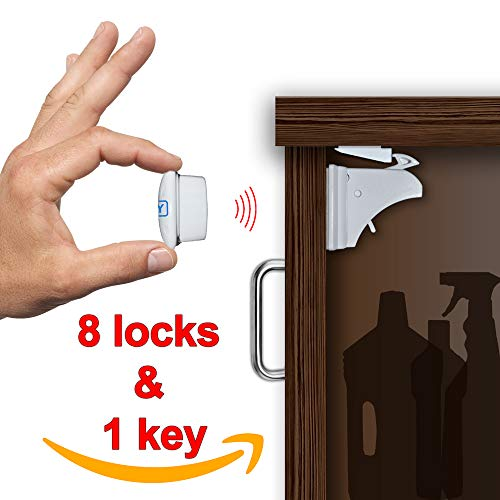 Hidden Magnetic Locks Set of 8 Locks + 1 Key - Baby Magnetic Cabinet Locks for Reliable Protection - 3M Adhesive Tape - Easy To Install Without Damaging Your Furniture - Bonus for Installation