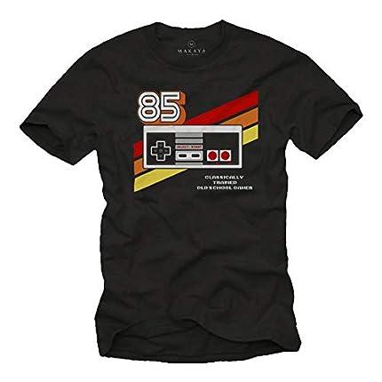 Gamer T-Shirt Hombre - Vintage Game Controller - Camiseta Friki Regalos Gaming Negro M
