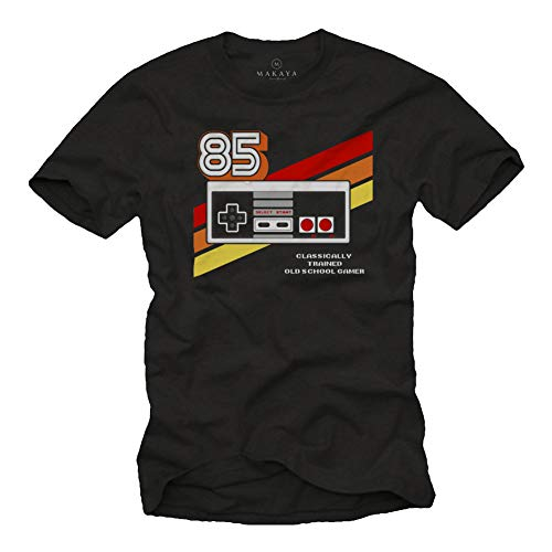 Gamer T-Shirt Hombre - Vintage Game Controller - Camiseta Friki Regalos Gaming Negro XL