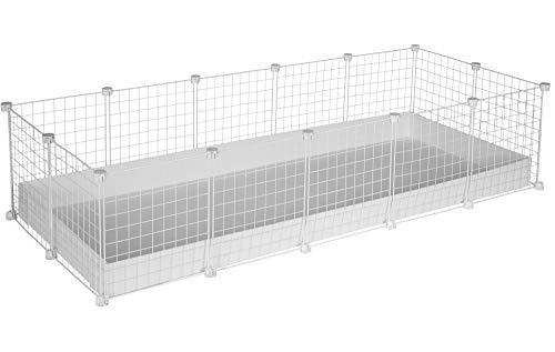 CagesCubes - Jaula CyC XXL (2X5 Paneles en Blanco) + Base de Coroplast Blanco para cobayas