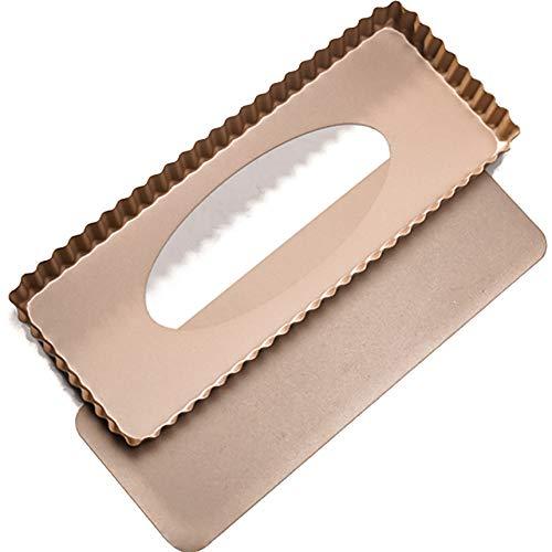 Teglia rettangolare per quiche con fondo di sollevamento, 36,5 x 15 cm, forma rettangolare Quiche, stampo per torte alla frutta,piroettine per pizza, con bordo ondulato, rivestimento antiaderente