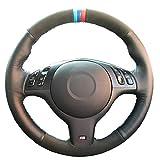 MIOAHD Cuero de la Cubierta del Volante del Coche, Apto para BMW M Sport E46 330i 330Ci E39 540i 525i 530i M3 E46