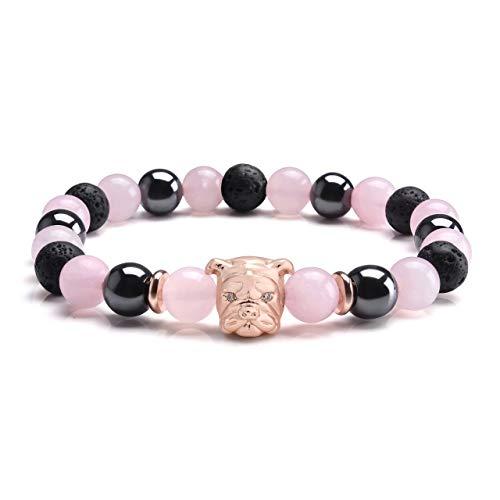 CrystalTears 8mm Stein Armband mit Bulldogge Kopf Stretcharmband Healing Reiki Perlenarmband Yoga Armreif Freundschaft Armbänder (Hematit+Lavastein+Rosenquarz)
