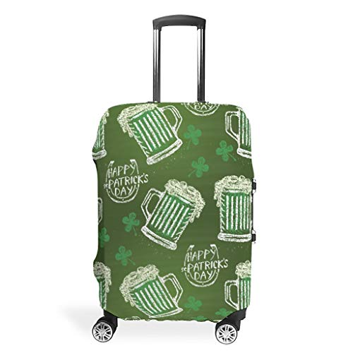 Luggage Cover St Patrick's Day Washable Suitcase Protector No Dirty Fit Easily Four Sizes to Choose Anti-Scratch Suitcase Cover Fits 18-32inch Perfect Gift for Christmas White s (19-21 inch)