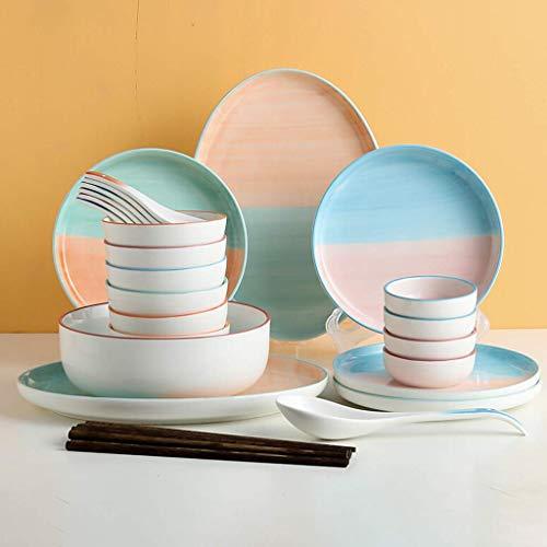 YLJYJ De Cena de cerámica, Juego de combinación de 30 Piezas de vajilla de Caja de Regalo  Platos de Porcelana con diseño de arcoíris y tazones de Cereales (los Mejores Regalos)