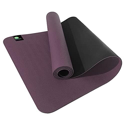 kulae Esterilla de yoga ECOmat de 3 mm, ecológica, reversible, ligera, antideslizante, 183 x 60 cm (Mulberry/Blackberry)