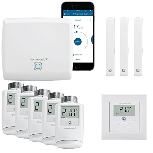 Homematic IP Funk Smart Home Heizungssteuerung Komplettpaket für 5 Heizkörper mit kostenloser Smartphone App. Inhalt: Zentrale, 5 Heizkörperthermostate, 3 Tür-Fensterkontakte, 1 Wandthermostat.