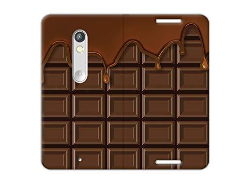 etuo Handyhülle für Motorola Moto X Play - Hülle, Handy Flip Case - Schokolade