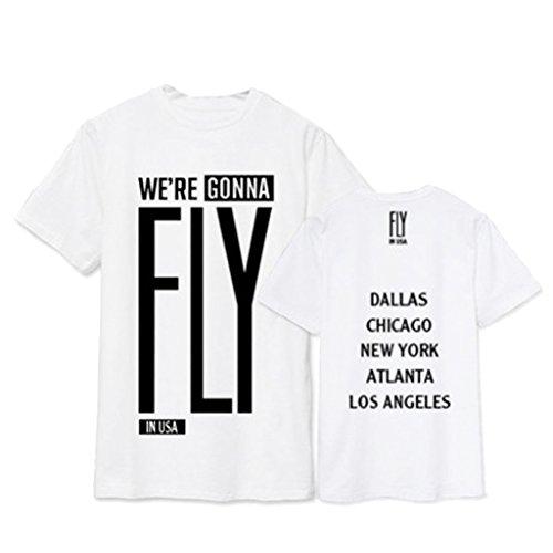 babyhealthy GOT7 Fly in USA Concert T-Shirt Mark Bambam Yugyeom Jackson Tee Shirt XXL White