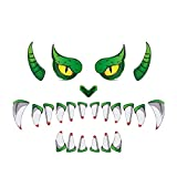QUUY Pegatina para puerta de Halloween con ojos de terror y dientes de rotura, resistente al agua, decoración para puerta exterior, arco de entrada, coche, decoración de Halloween