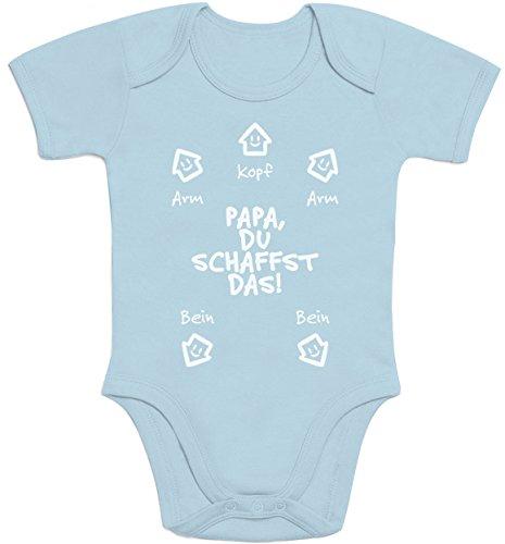 Shirtgeil Papa Du Schaffst Das - Witziges Design für Mädchen und Jungen Baby Strampler Body Kurzarm 3-6 Months Hellblau