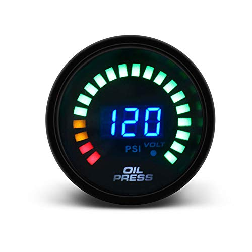 Gogdog Racing Oil Press Meter Pressure Gauge LED Scale Digital Display Car Modification 12V Universal