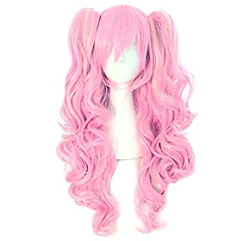 MapofBeauty Multi-color Lolita Long Curly Clip on Ponytails Cosplay Wig  Pink/Blonde
