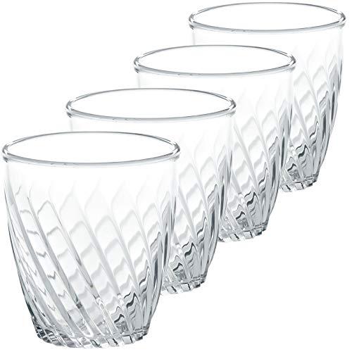 4 x Acryl-Gläser 300ml - Camping Küche glasklar - Kunststoff Trinkglas Trinkbecher Saftglas Wasser Glas Becher - Campinggeschirr Picknick Geschirr elegantes Design Kinderglas bruchfest leichtes SAN