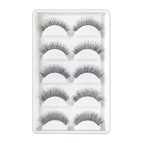 XUNUO Natural Black False Eyelashes 5 Pairs Of Long Sparse Cross False Eyelashes, Eyelash Makeup Tool For Dating Or Photography (Length : Black)