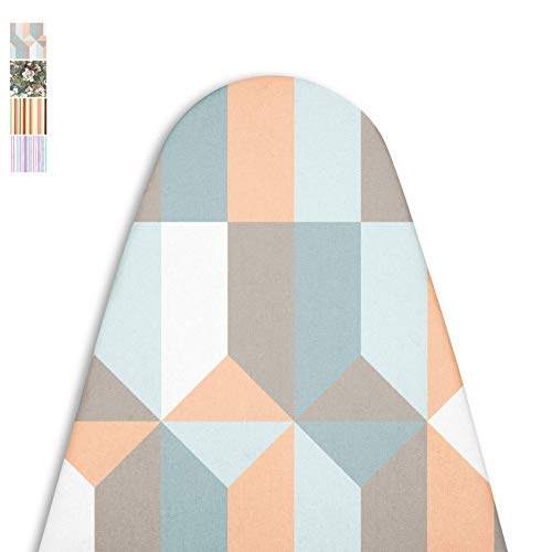 Encasa Homes Replacement Ironing Board Cover with Extra Thick Pad Made in India Standard Fits Wide Boards 18 x 49 inch Elasticated Scorch Resistant Durable  Blocks