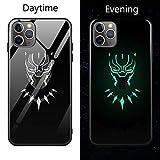 Coque de en Verre Lumineux pour iPhone 6 6S 7 8 Plus X XR XS XS Max 11 11 Pro 11 Pro Max Avengers Black Panther Iron Man Bat Spider Man iPhone 11 Pro 1