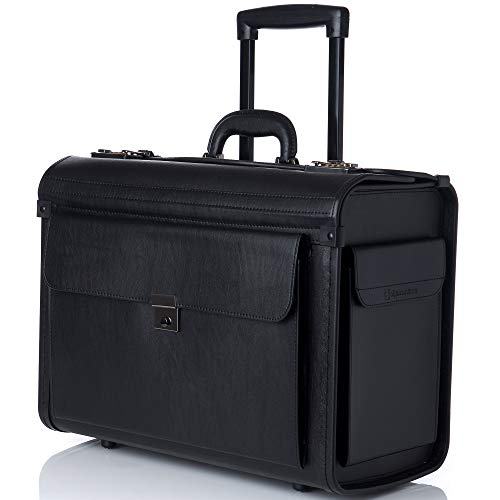 "Alpine Swiss Rolling 17"" Laptop Briefcase on Wheels Attache Lawyers Case Legal Size"