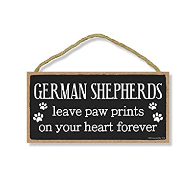 Honey Dew Gifts German Shepherds Leave Paw Prints Wooden Home Decor for Dog Pet Lovers, Hanging Decorative Wall Sign, 5 Inches by 10 Inches