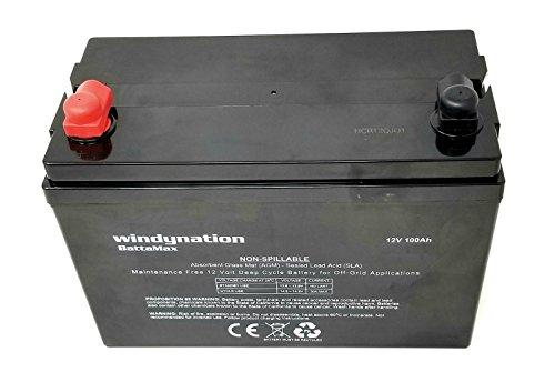 WindyNation 100 amp-Hour 100AH 12V 12 Volt AGM Deep Cycle Sealed Lead Acid Battery - Solar RV UPS Off-Grid (1 pc 100 amp-Hour)
