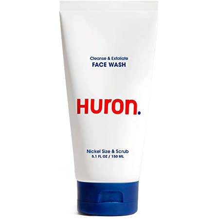 Huron - Men's Daily Face Wash. Creamy cleanser with natural exfoliants gently clears away dirt, oil and pollution. Conditions skin. 100% vegan, sulfate-free. 5.1 oz. (Pack of One)
