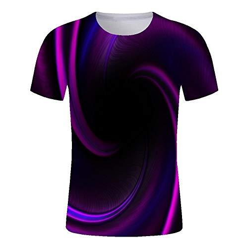 3D gedrucktes t-Shirt,Neuheit Cooler Sommer Kurzarm Tops Optische Täuschung Wirbel Druck T-Shirt Schnell Trocknen Bequem Rundhalsausschnitt Atmungsaktiv Lässig Für Männer Und Frauen Geburtstagsfeie