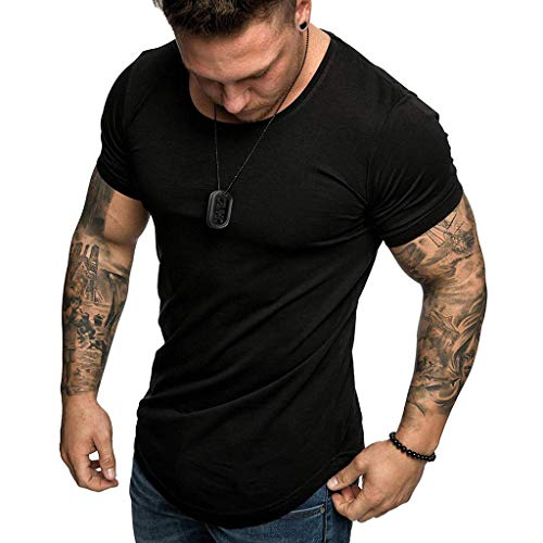 New Shirt for Men, F_Gotal Men's T-Shirts Fashion Summer Short Sleeve Basic Solid Slim Fit Muscle Te...