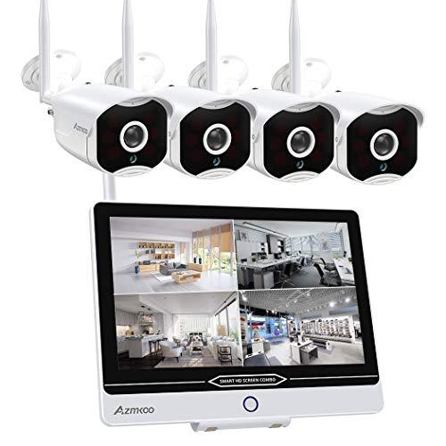 Überwachungskamera Set mit Monitor 4CH 10.1 Zoll 5MP Funk NVR und 4 x 1080P WLAN IP Kamera Vorinstalliert für Innen Außen