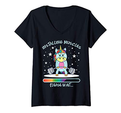 Mujer Gym Unicorn Training Muscle Gain Gym Horse Power Unicorn Camiseta Cuello V