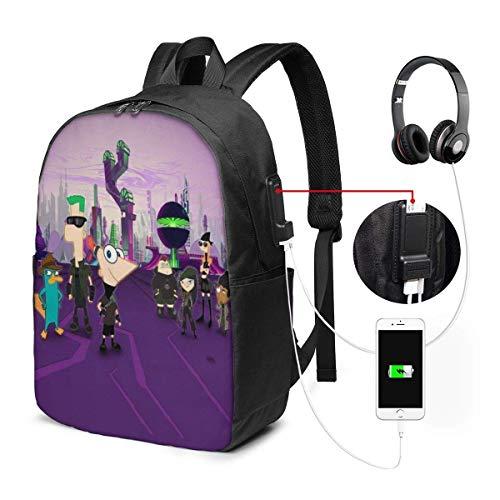 Mochila FGHJY Phineas y Ferb USB 17 en Mochila para portátil Unisex de Viaje, Resistente al Agua y con Puerto de Carga USB para Mochila Escolar para Estudiantes universitarios