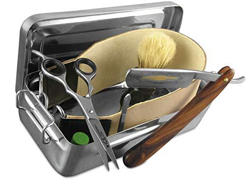Rasiermesser-Set 7 Teilig Leder-Streichriemen Paste Solingen Rasierpinsel in einer Geschenk-Rasier Box