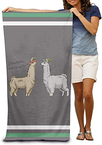 Houlipeng Cute Llamas with Hats Adults Cotton Beach Towel 31 X 51-Inch