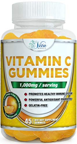 Vitamin C Gummies 1000mg - with Zinc Adults Kids Potent Immune Support Chewable Gummy Orange Flavor (1 Pack)
