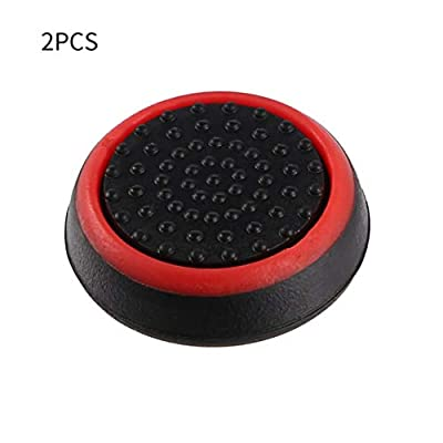 2pcs Silicone Anti-slip Striped Gamepad Keycap Controller Thumb Grips Protective Cover for PS3/4 for X box One/360 black & red 2pcs WEIWEITOE