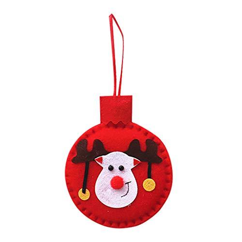 YOUMETA Bola de Navidad Colgante Aplique de Tela de Fieltro Colgante pequeño de muñeco de Nieve de Navidad Decoración de Ventana de Techo de Pared Colgante de árbol de Navidad de Madera