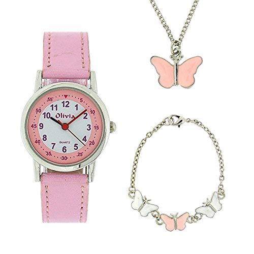 The Olivia Collection set regalo ragazze orologio & gioielli con farfalla KS002