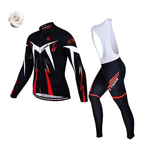 X-TIGER da Ciclismo Maglietta Manica Corta da Uomo + 5D Gel Pantaloncini Corti Imbottiti con pettorina Set di Abbigliamento Ciclista (Rojo Inverno Maglia+Pettorina Pantalone, L (CN)= M(EU))
