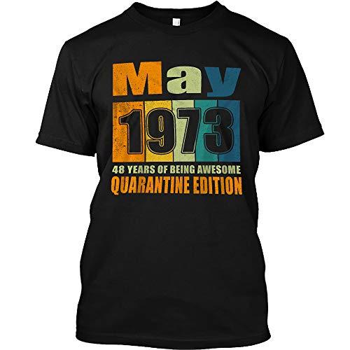 MegaStore 48Th Birthday Decoration May 1973 Men Women 48 Years Old T-Shirt for Men Women (Black - 4XL)
