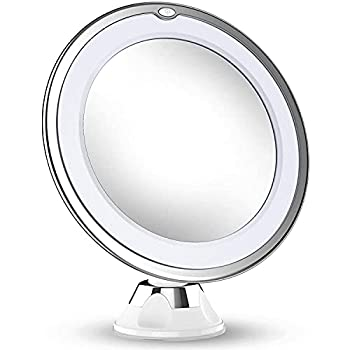 Updated 2021 Version 10X Magnifying Makeup Vanity Mirror with Lights LED Lighted Portable Hand Cosmetic Magnification Light up Mirrors for Home Tabletop Bathroom Shower Travel