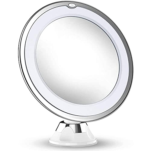 Updated 2021 Version 10X Magnifying Makeup Vanity Mirror with Lights, LED Lighted Portable Hand Cosmetic Magnification Light up Mirrors for Home Tabletop Bathroom Shower Travel
