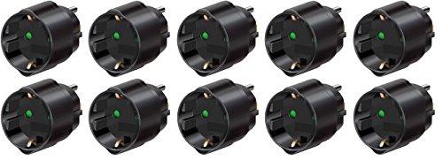 Brennenstuhl Reisestecker/-adapter Schutzkontakt für USA, Japan schwarz, 1508550 (10 Stück, Adapter USA, Japan)