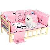 La La Pet Wooden Dog Bed Elevated Pet Sofa Raised Dog Kennel with Fence Pillows Mattress and Bedding for Small Medium Dogs Cats(Pink,M)